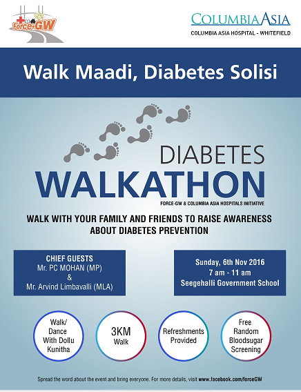 Columbia Asia Hospital, Whitefield in association with FORCE GW organizes a Diabetes Walkathon in Whitefield