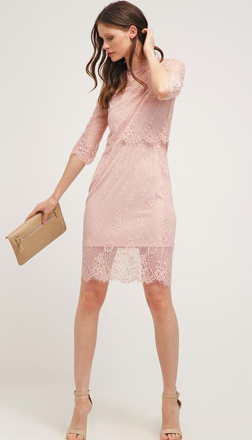 Robe courte de cocktail en dentelle rose Vero Moda