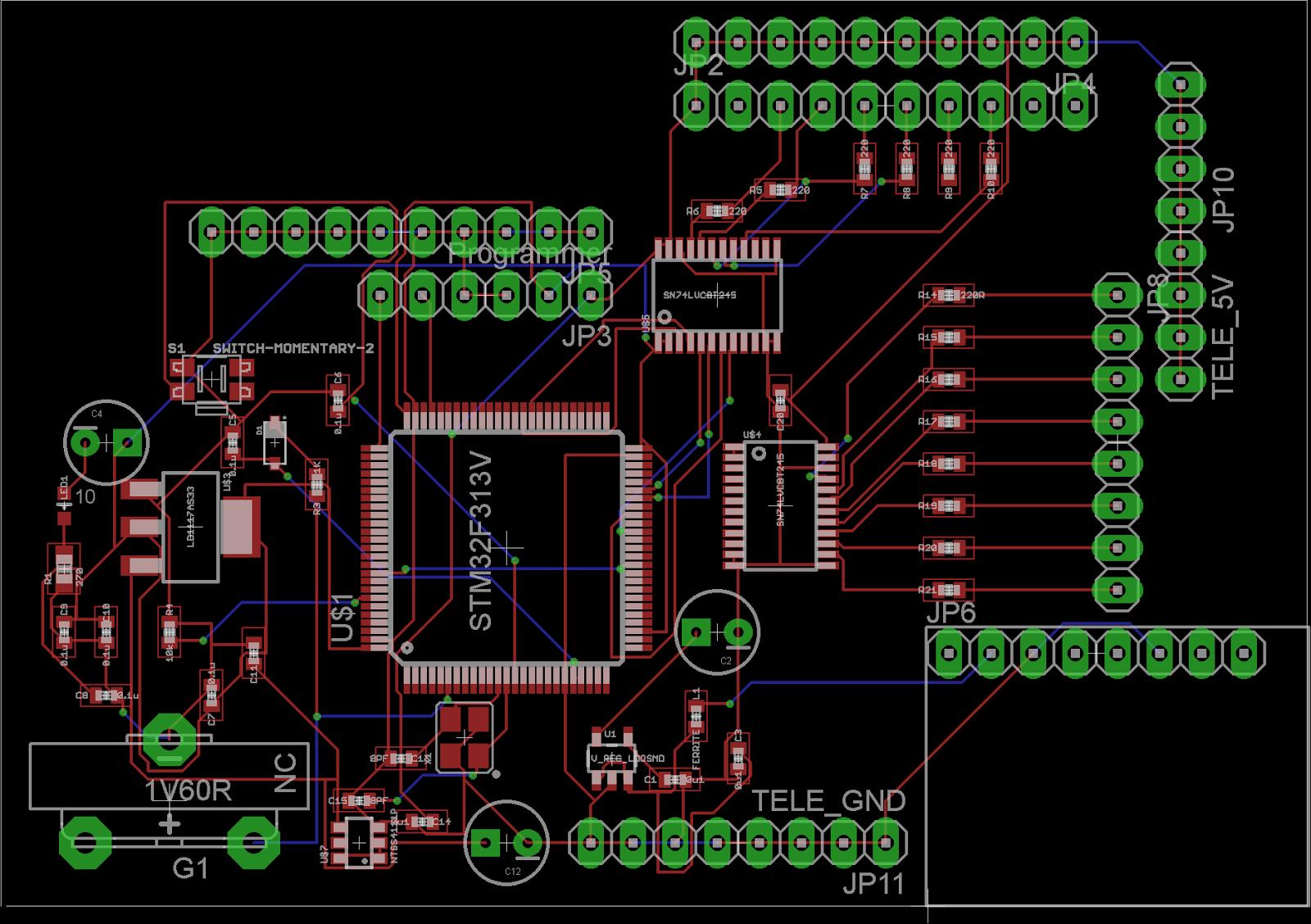 Bli: 2 layer Eagle PCB for STM32F3 version Flight Controller
