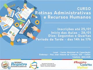 Inscrições para o curso Rotinas Administrativas e Recursos Humanos encerram 25/01, em Registro-SP