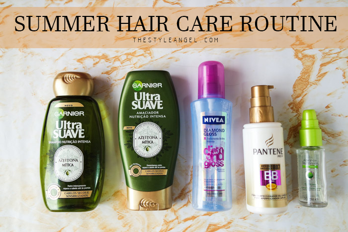 Summer hair care routine, shampoo, conditioner (garnier) nivea shine spray, pantene bb cream and avon serum