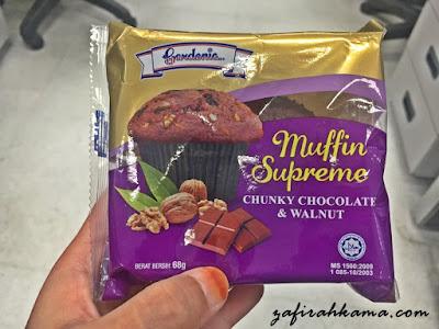 muffin supreme, chocolate & walnut, bihun goreng segera, gardenia muffin chocolate, stok kudapan, cereal nestum, calpis fiber, cp nasi goreng kampung, 7eleven malaysia, kedai serbaneka, brekafast segera,