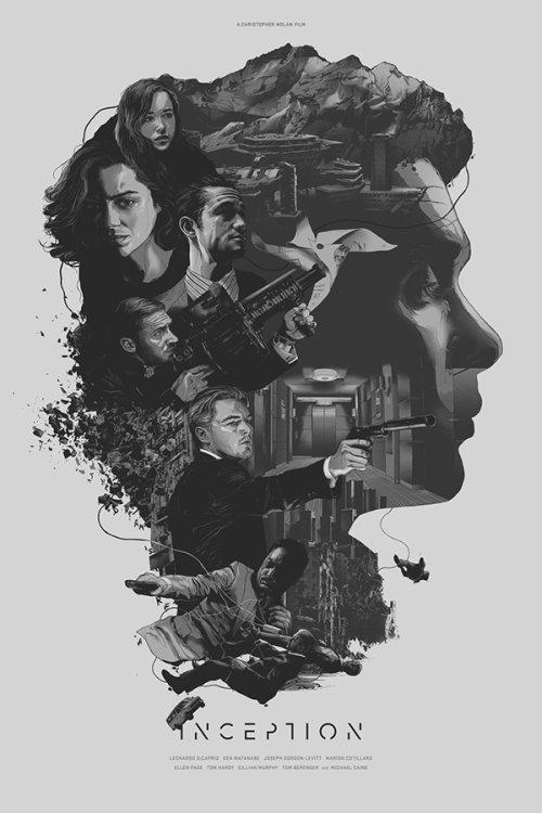 Grzegorz Domaradzki ilustrações cartazes pôsteres filmes arte cinema Inception (A Origem)