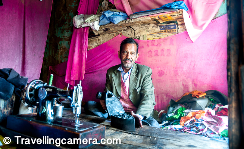It was early in the morning when every shopkeeper in Kalpa was gearing up for the day. Above photograph shows the only tailor in Kalpa market.
