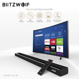 BlitzWolf® BW-SDB1 60W 36-inch Smart Soundbar 2.0 Channel Wired and Wireless Bluetooth Audio Speaker for TV PC with HDMI/Coaxial/Optical/AUX/USB - Black