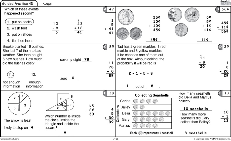 Printables Excel Math Worksheets excel math 22612 3412 grade 2 guided practice to review coins lesson 45
