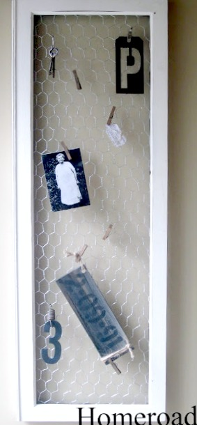 frame with chicken wire and hanging items