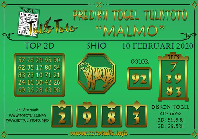 Prediksi Togel MALMO TULISTOTO 10 FEBRUARI 2020