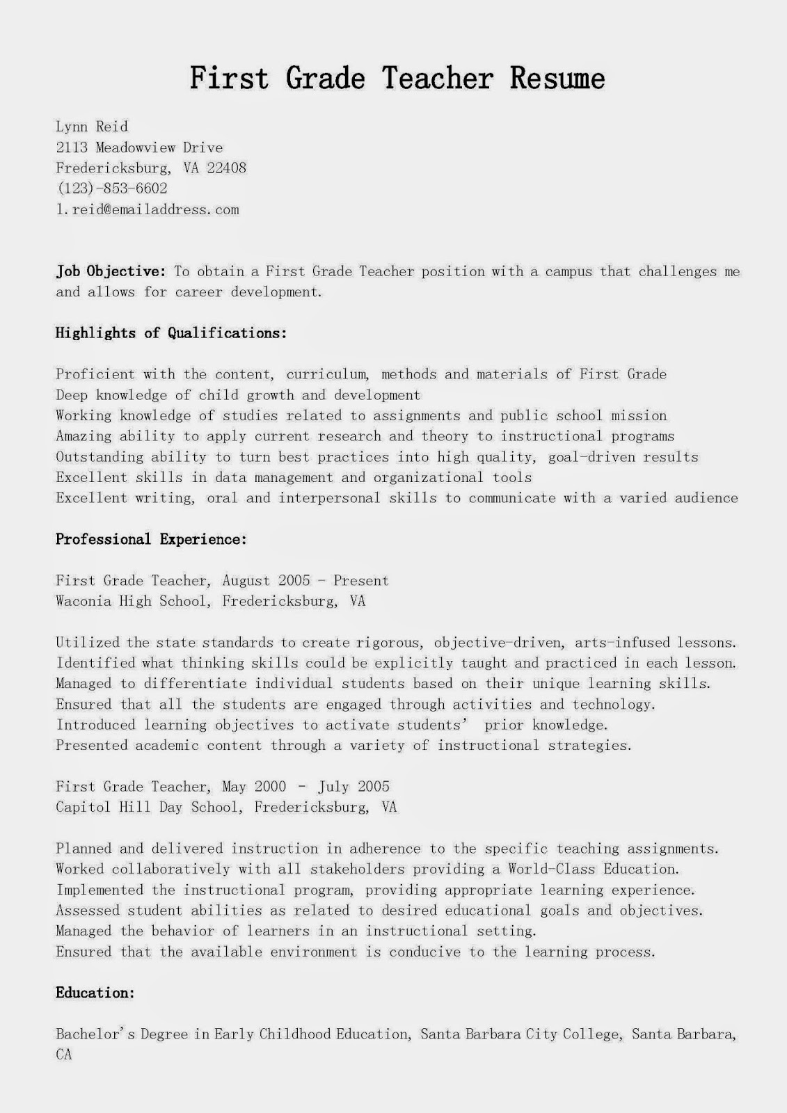 Resume Samples First Grade Teacher Resume Sample