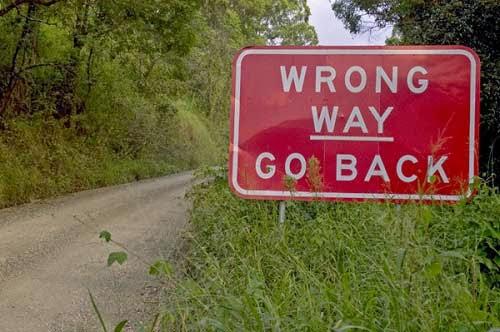 Salah jalan, harap segera berbalik arah.