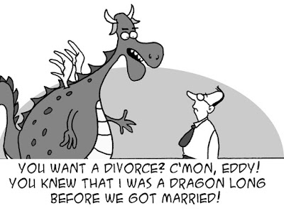 funny dragon divorce cartoon joke picture