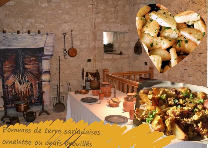 oeufs brouillés aux pommes de terre sauté dans de la graisse d'oie ou canard, persil, ail, sans gluten