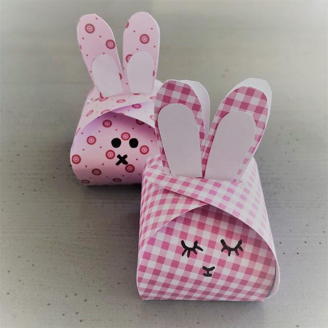 cajitas de carton en forma de conejo, manualidades,
