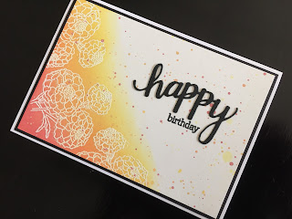 Emboss resist hand made birthday card with distress oxide background and die cut greeting
