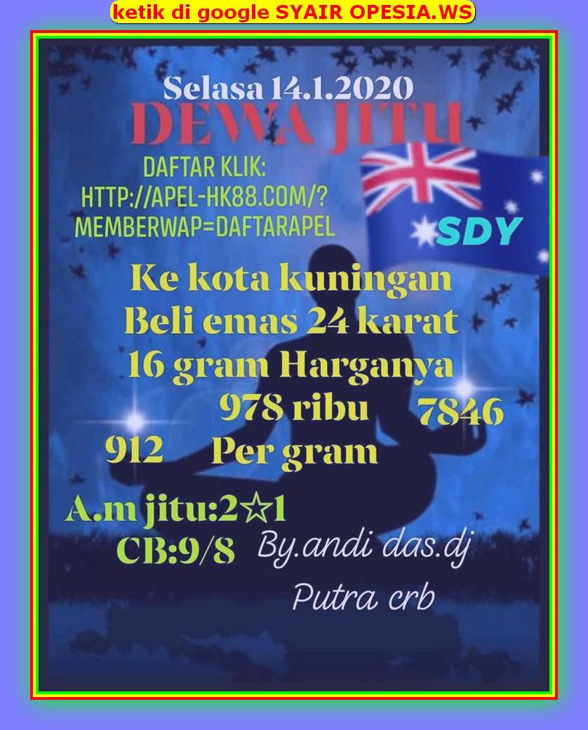 Kode syair Sydney Selasa 14 Januari 2020 11