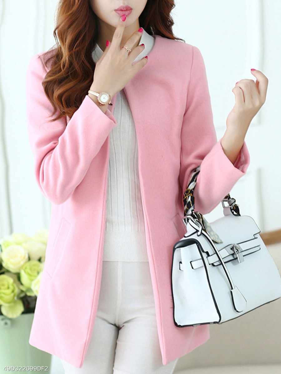Round Neck Plain Long Sleeve Coats