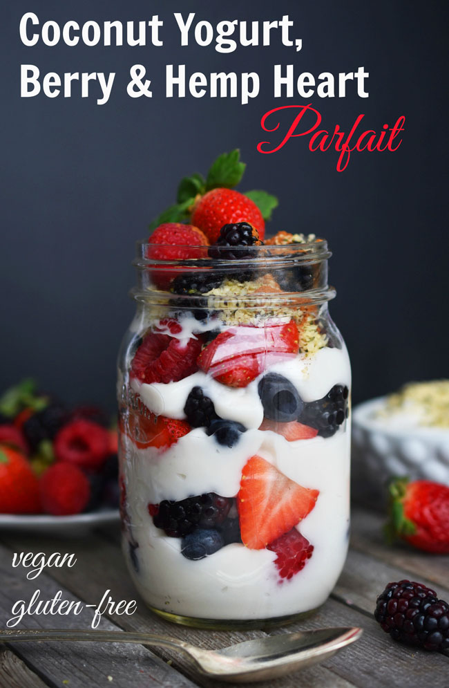 "This Coconut Yogurt, Berry and Hemp Heart Parfait is part of the cleansing diet in The Detox Prescription. The hemp hearts add heartiness and contain the powerful phytochemicals ellagic acid and resveratrol, which reduce inflammation, inhibit oxidation of LDL (""lousy"" cholesterol), protect nerve cells, and prevent insulin resistance. Berries have a lot less sugar by weight than many other fruits. #vegan #glutenfree #healthy #recipe #fruit"