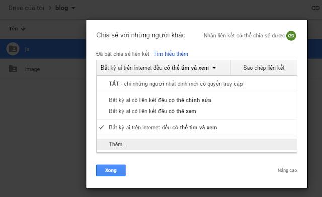 Upload file js, css lên google drive để sử dụng