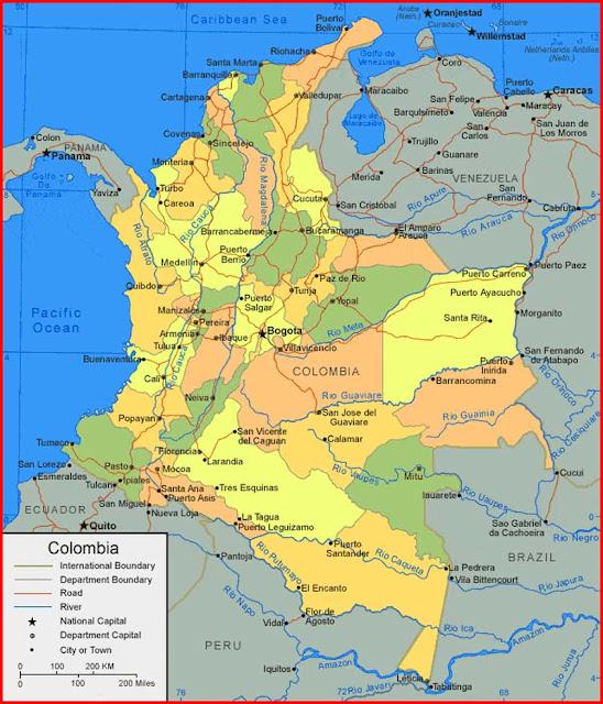 Gambar Peta Kolombia