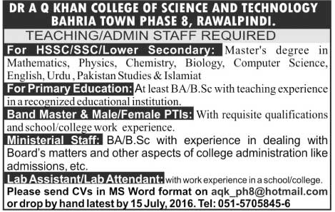 Teachers Jobs in Dr A Q Khan College of Science and Technology Bahria Town Rawalpindi