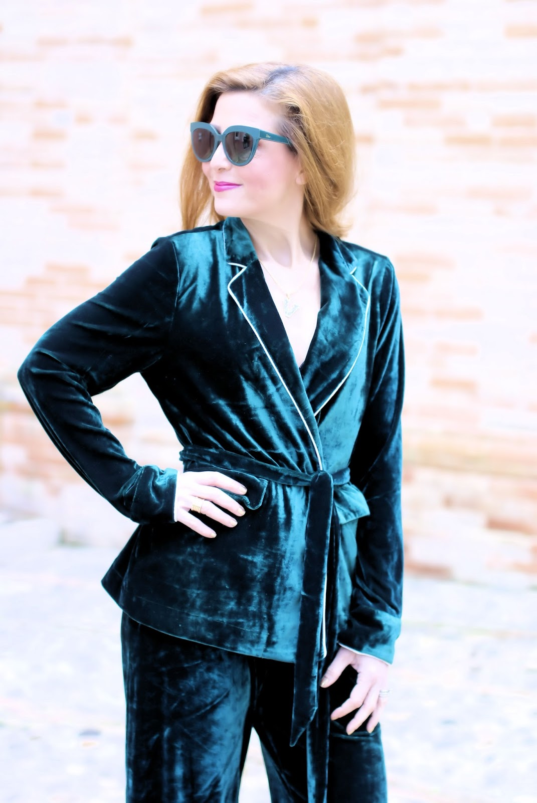Green velvet pyjamas on Fashion and Cookies fashion blog, fashion blogger style