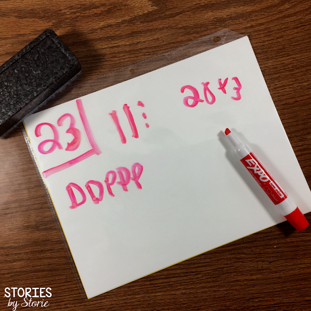 Sheet protectors can be used as a whiteboard alternative. By inserting cardstock paper, you can instantly create a 2-sided work space for students. These are also smaller and quieter than whiteboards!