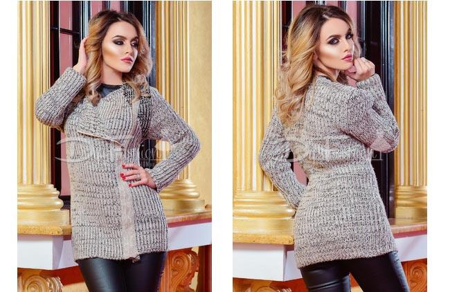 Cardigan de dama ieftin din material ca lana tricotat bej