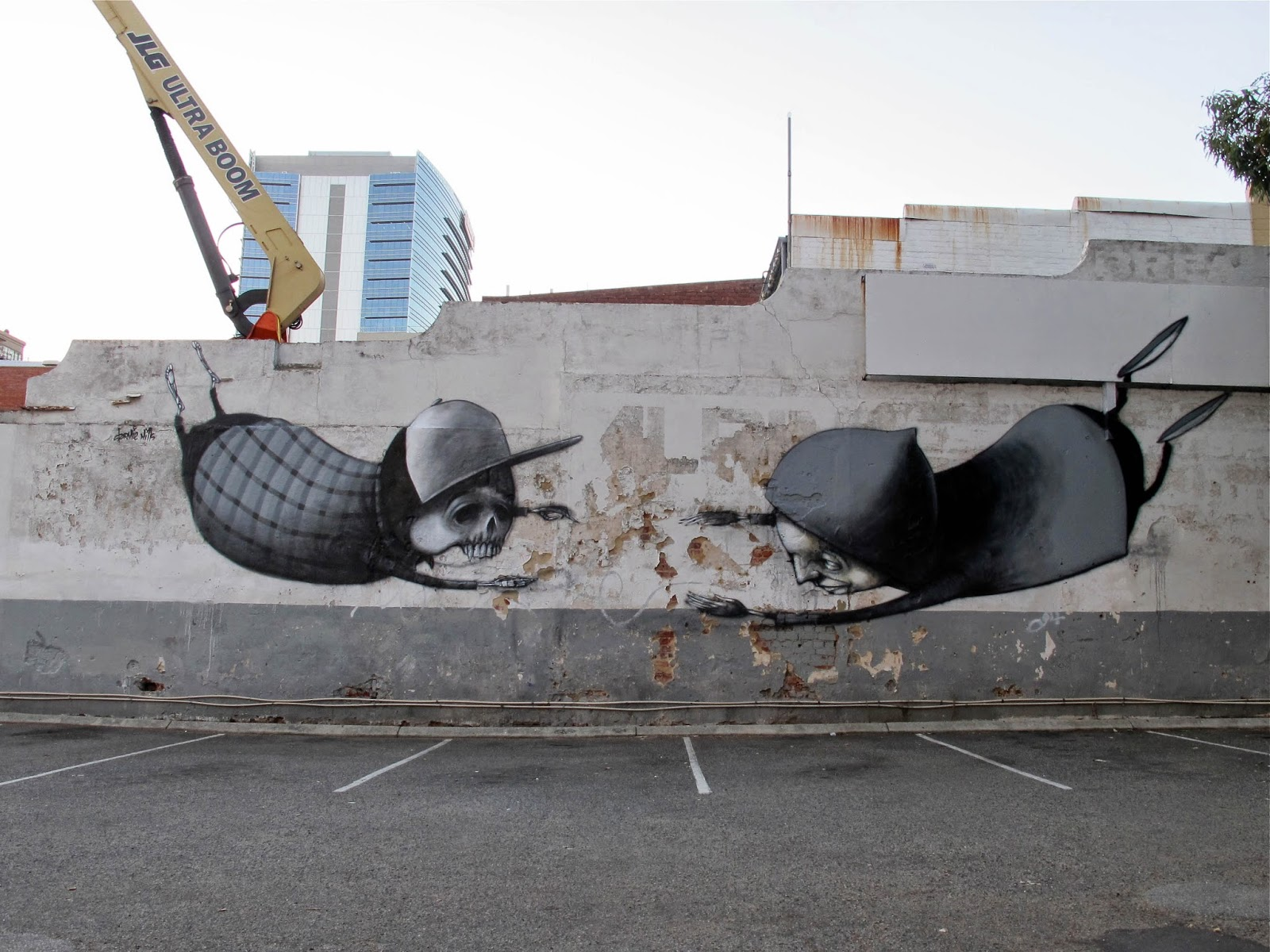 Stormie Mills was also part of the Public Forms Street Art Festival in Perth, Australia where he was invited to paint a big wall.