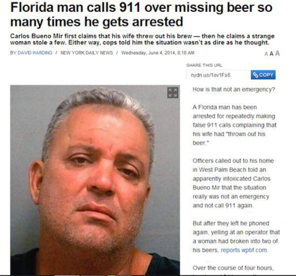 Article image about the Florida Man losing his beer and getting arrested