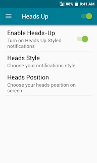 heads up settings