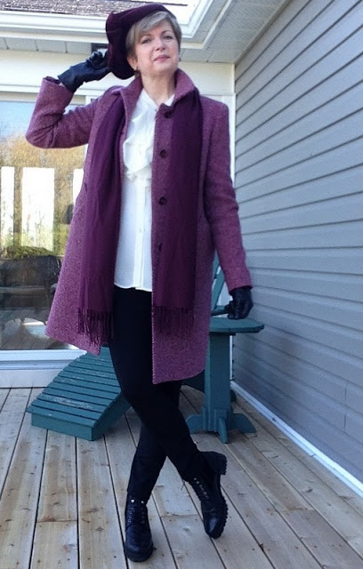 Vintage 40's hat, Max Mara coat, Holt Renfrew silk blouse, Nordstom scarf, Vince leggings, Stuart Weitzman boots, Anne Marie Chagnon earrings from Magpie Jewellry