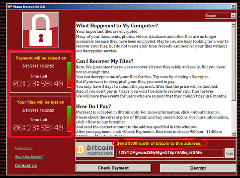 Ransomware WannaCry Attack screen
