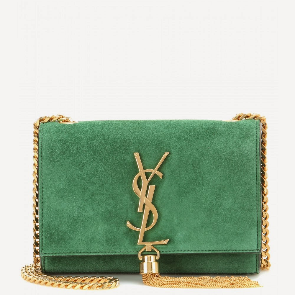 Saint Laurent Classic Monogram Green Suede Shoulder Bag