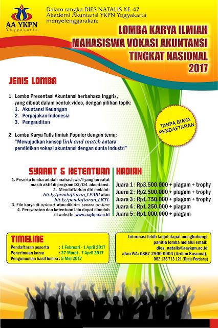 Lomba Karya Ilmiah Mahasiswa Vokasi Akuntansi Tingkat Nasional 2017, LPABI AA YKPN, LKTIP AA YKPN