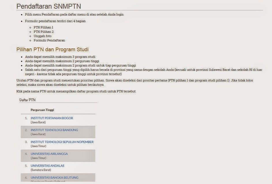 Pendaftaran Online SNMPTN 2017-2018