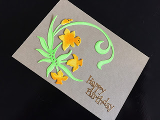 Hand made birthday card with die cut daffodils