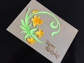 Hand made birthday card with die cut daffodils