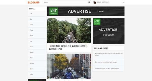Blog AMP blogger template responsive