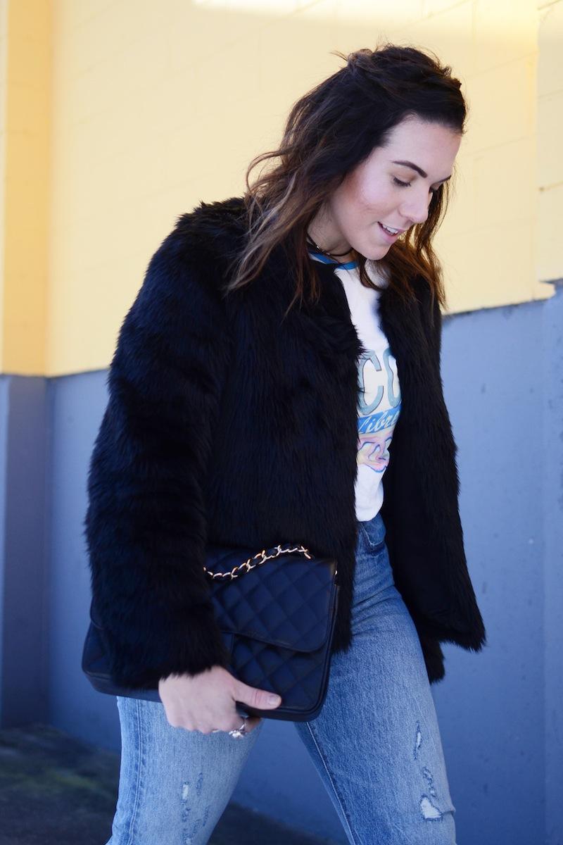 Coco Cuba tshirt levis wedgie jeans vancouver fashion blogger faux fur jacket outfit.