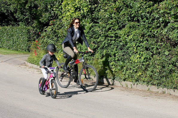 Crown Princess Mary wore Cavalleria Toscana shirt, Down Jacket, Trousers and Prada Sunglasses. Princess Josephine, Prince Vincent, Prince Christian on Summer Holiday