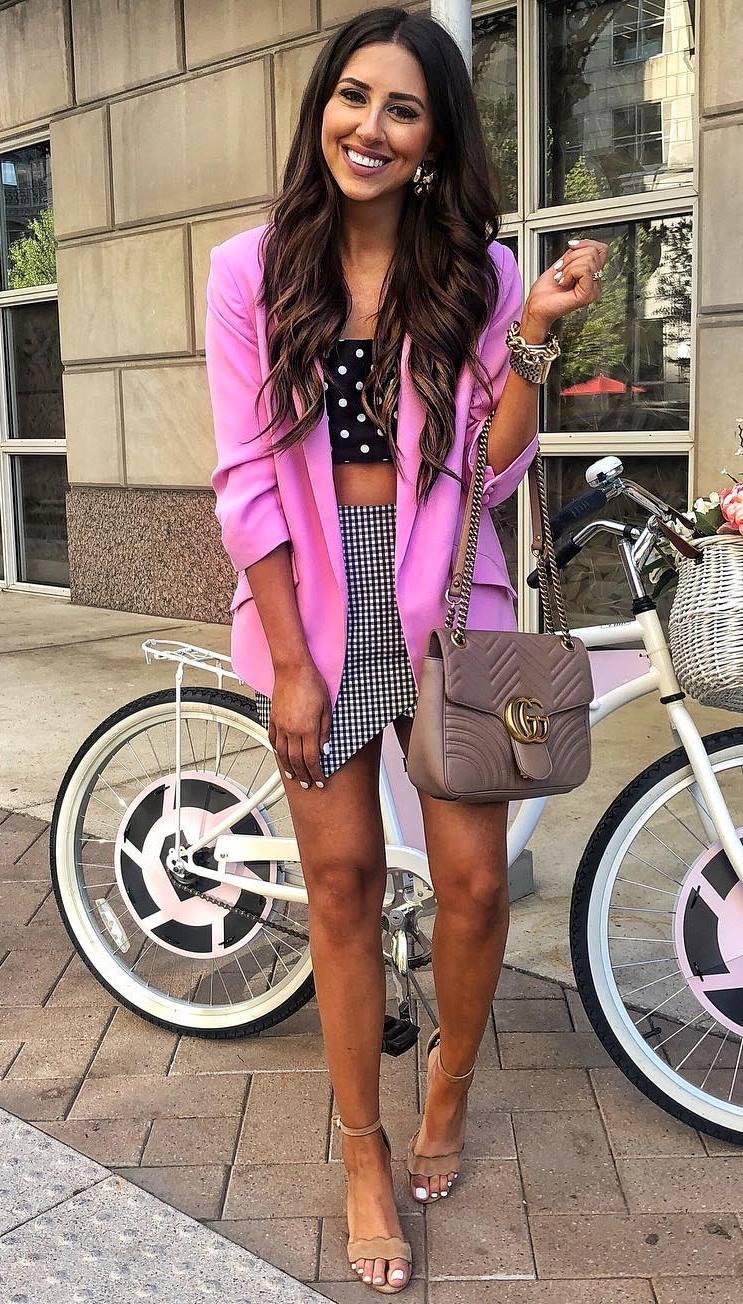 elegant summer outfit / pink blazer + polka dots top + bag + heels + skirt