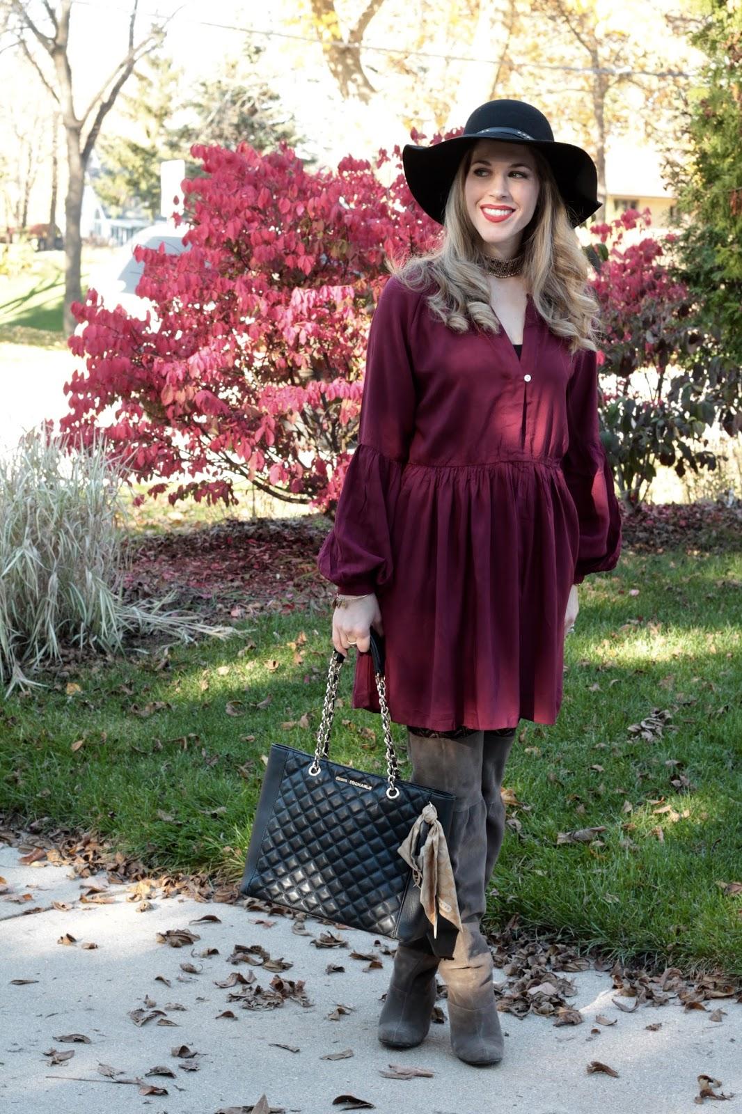 burgundy boho dress, grey OTK boots, black floppy hat, choker, Greg Michaels black quilted bag