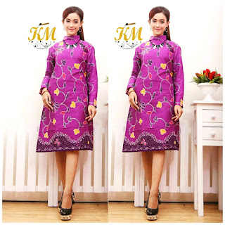 Contoh Baju Batik Wanita Modern Model Batik Terbaru 2018 warna ungu