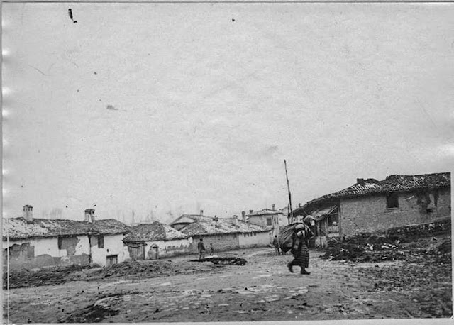 In the streets of Monastir (Bitola) (February 1917). One of our planes patrols the city