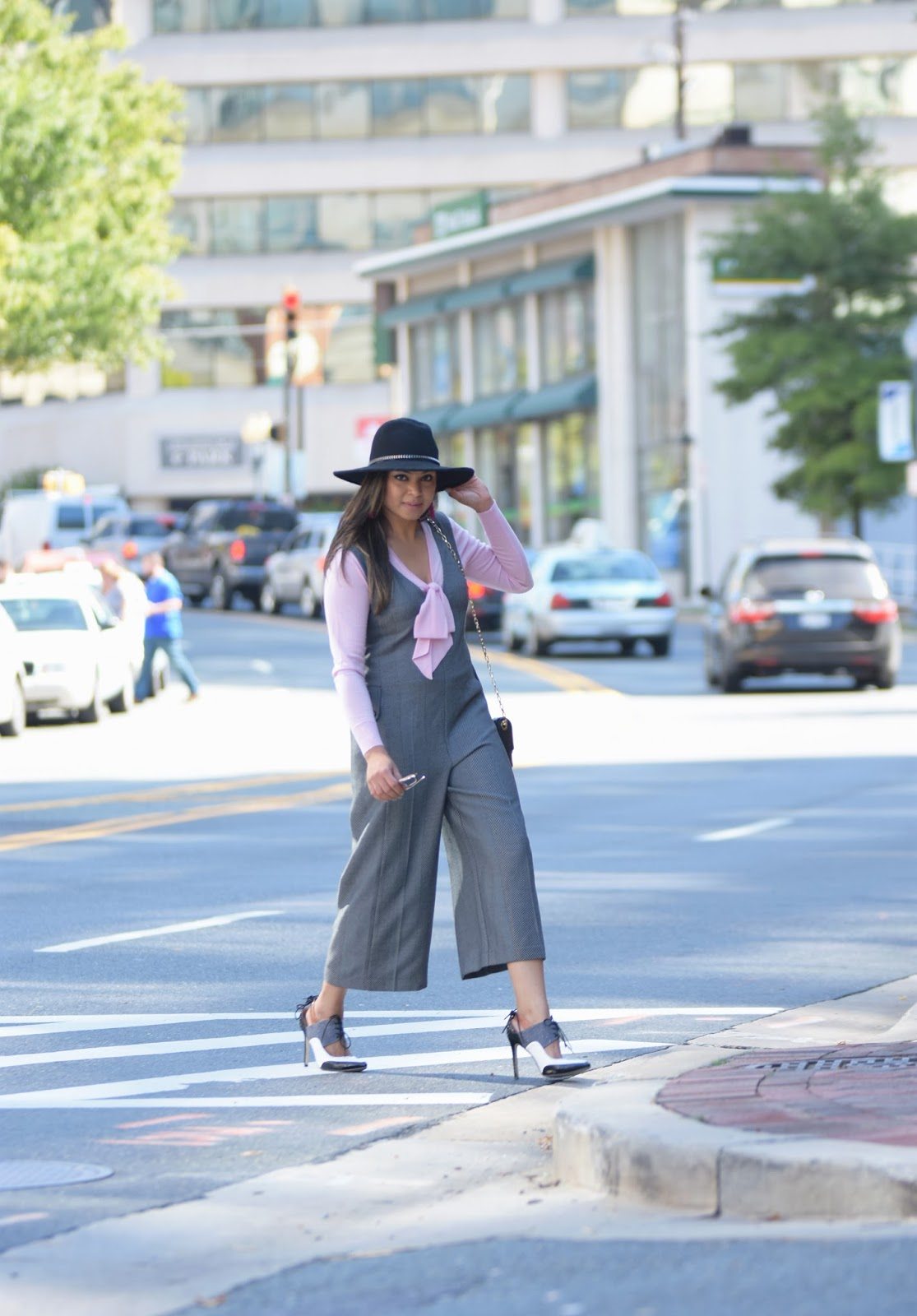 menswear inpired, fashion blogger, jumpsuit, anthropologie jumpsuit, hat style, loafers, streetstyle blogger, gray jumpsuit, pink bow sweater, fashion, ootd, personal style, myriad musings