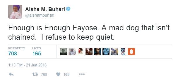 "Ghen ghen! Aisha Buhari calls Fayose ""a mad dog"""