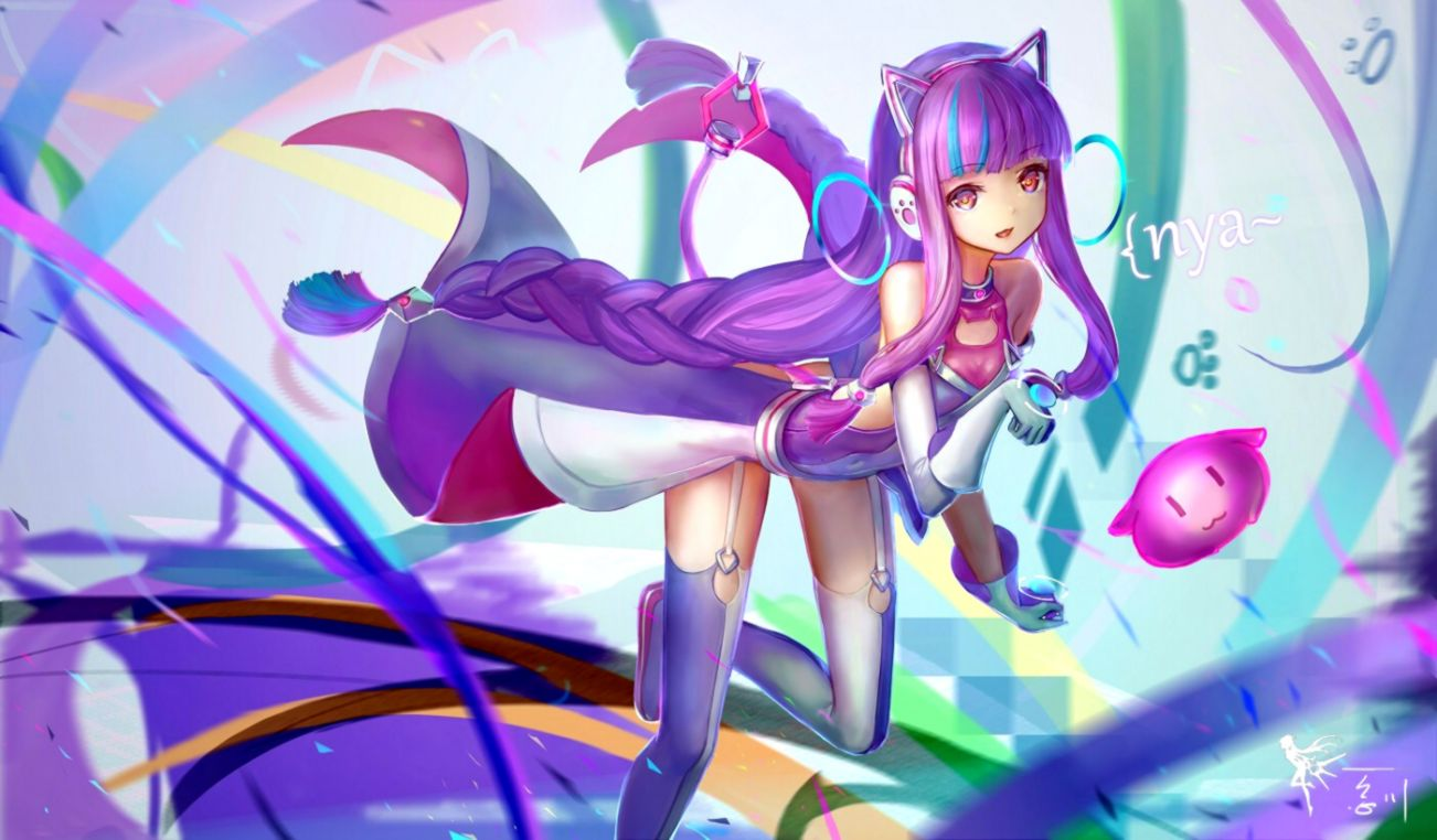 Wallpaper anime girl purple hair headphones braid wallpapermaiden