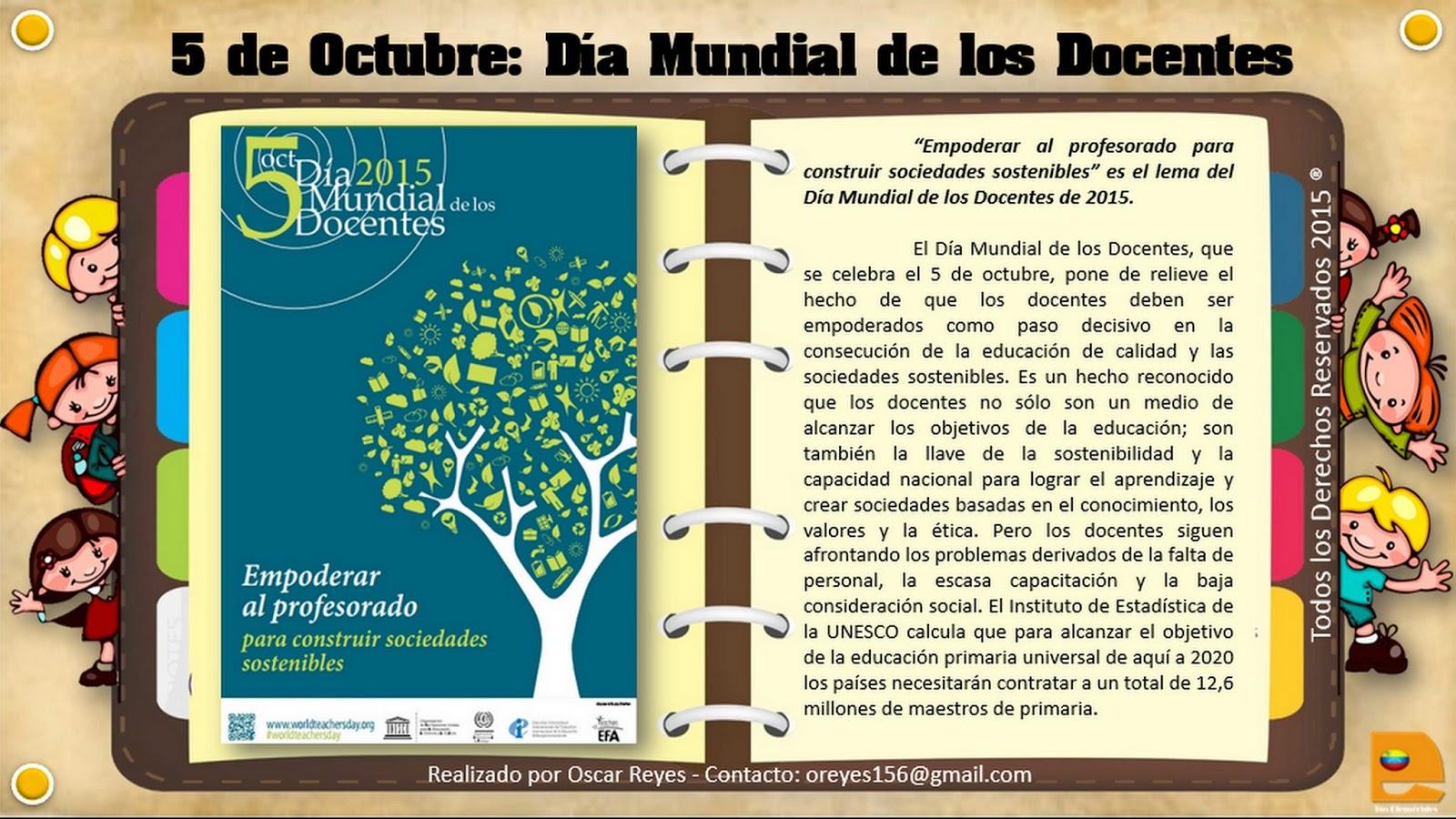 Tus Efemérides Escolares: 05 de Octubre Día Mundial de los Docentes
