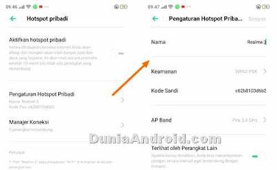 setting sandi dan SSID wifi Realme