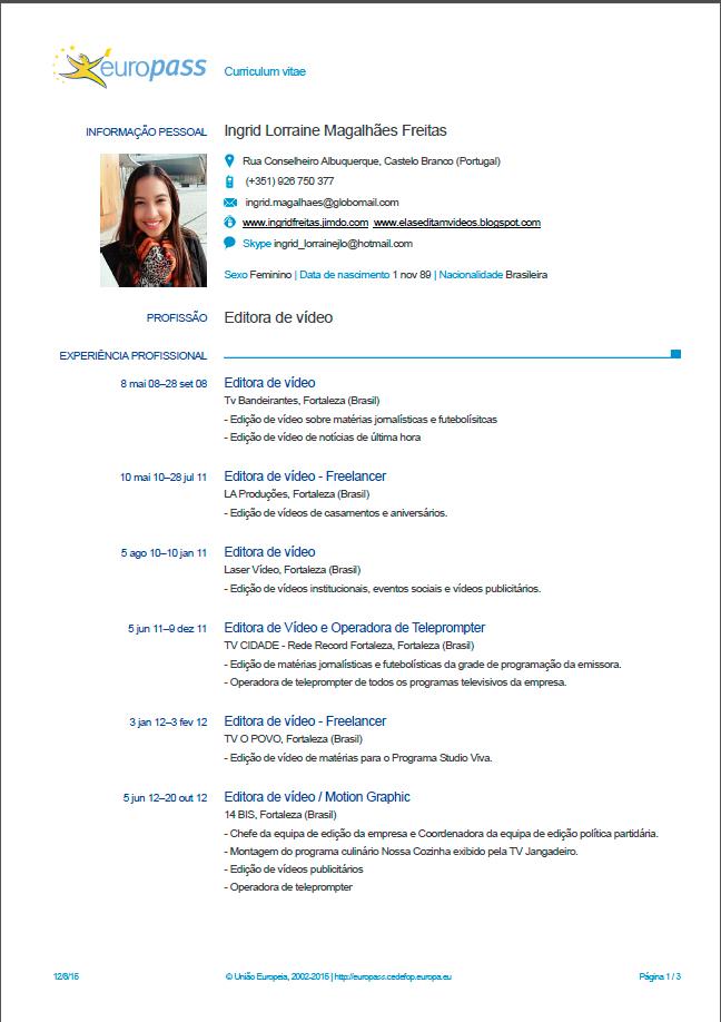 Elas Editam Vídeos EUROPASS - O CV da União Européia - europass curriculum vitae